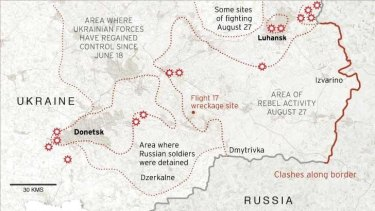 A map of some of the battle zones where Ukrainian troops are facing Russian and separatist forces.
