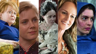 The nominees for best supporting actress: Jacki Weaver, Amy Adams, Sally Field, Helen Hunt and Anne Hathaway.
