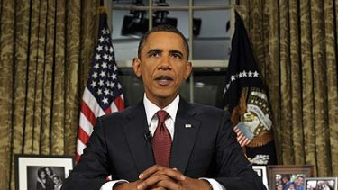 President Barack Obama gives his address to the nation.