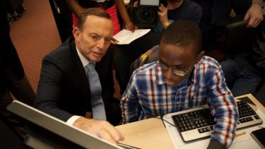 In June, Mr Abbott visited New York's Pathways in Technology Early College High School.