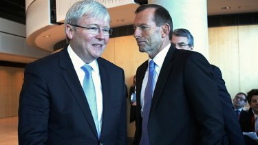 Kevin Rudd and Tony Abbott will again cross paths at a leaders debate on Sunday.