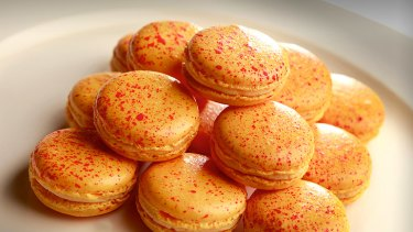 Passionfruit and chilli macarons.