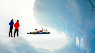 The Akademik Shokalskiy sits trapped in Antarctic sea ice. Photo: Andrew Peacock/footloosefotography.com