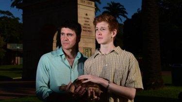 Actors Jack Finsterer and Benson Jack Anthony with Herman, <i>Shellshock's</i> animatronic turtle.