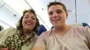 Petra van Langeveld and her 15-year-old son, Gary Slok, aboard MH17, on their way to a holiday in Malaysia.
