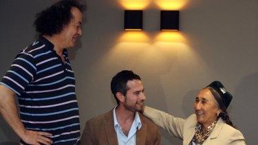 Rebiya Kadeer with film director Jeff Daniels and Melbourne International Film Festival director Richard Moore.