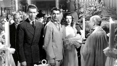 Jimmy Stewart, Cary Grant and Katharine Hepburn in <i>The Philadelphia Story</i>.