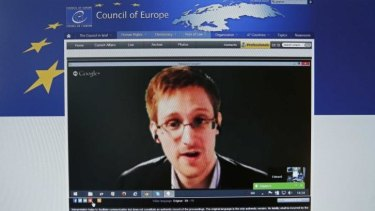 Edward Snowden speaks via video with members of the Council of Europe last month.