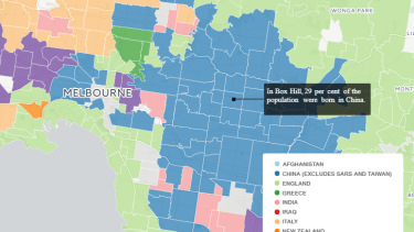 The suburbs of Melbourne (in blue) where China is the second most common country of birth.