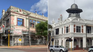 The Guildford Hotel before and after its long awaited restoration.