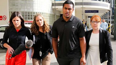 Julian Savea arrives for his hearing at Wellington District Court.
