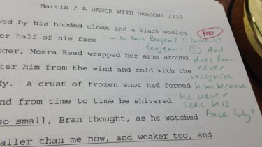 An editor's note on the <i>A Dance with Dragons</i> manuscript.