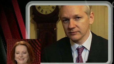 Julia Gillard, left , and Julian Assange, above, traded blows on Q&A last night.