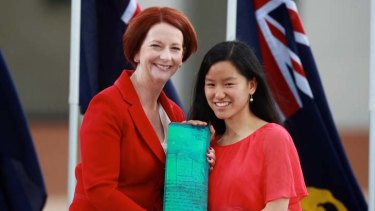 Young Australian of the Year, Marita Cheng, receives her award from Prime Minister Julia Gillard.