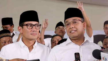 Jakarta's next governor Anies Baswedan (right) and vice governor Sandiaga Uno.