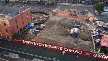 The site of last Thursday's wall collapse, pictured in 2012, has seen a procession of failed developments since being cleared.