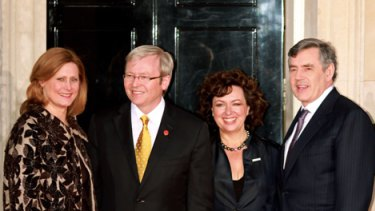 Sarah Brown, left, wife of Gordon Brown, right, Australia Prime Minister Kevin Rudd, second left and his wife Therese Rein outside Downing Street.