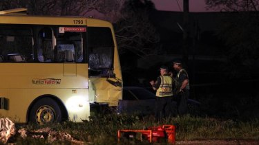 'Chaos' ... a school bus and a prime mover collided.