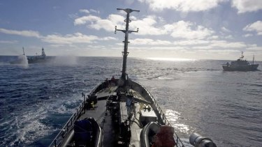 Sea Shepherd ships confront the whalers, in a file photo.