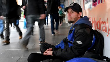 Simon Broadbent sleeps rough in Melbourne's city centre as he awaits a place in public housing.