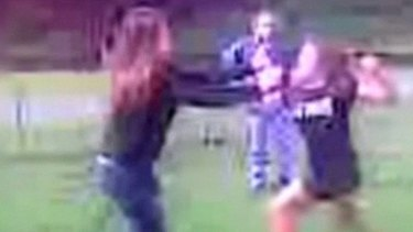 ''Break her nose'' ... a mother's voice is recorded encouraging her daughter in a fight in Newcastle.