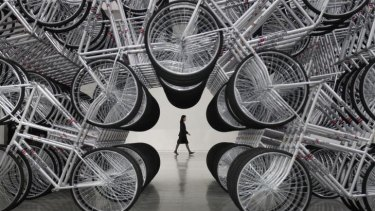 Artist Ai Weiwei's installation titled <i>Forever Bicycles</i>, on show in Taipei.