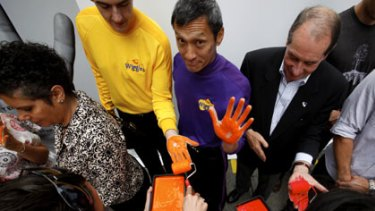 Helping hands... Sam Moran and Jeff Fatt from the Wiggles were among the supporters of Hangs Across the Nation appeal.
