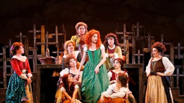 The bonnie lasses in The Production Company's  revival of Brigadoon.