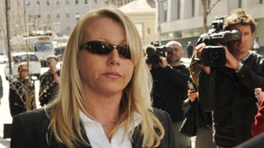 Stripper Linda Maree Naggs leaves the Melbourne Magistrates Court.