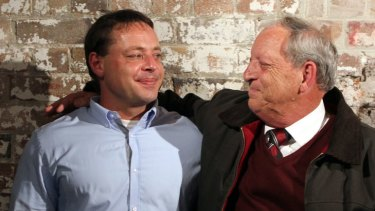 Controversial ... David Hicks with his father, Terry, at the Sydney Writers' Festival.