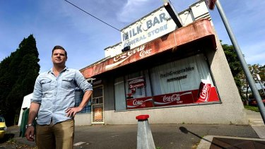 Melbourne illustrator Eamon Donnelly in front of a closed milk bar in Brunswick East. Below: images from the book.