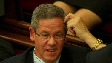 Richard Della Riva in Parliament yesterday after the opposition accused him of accessing police records.