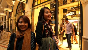 Chasing value: Linh Hoang (left) and Athena Trinh in the QVB.