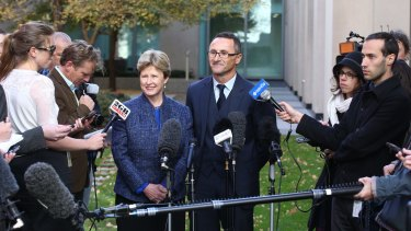 Christine Milne and Richard Di Natale face the media on Wednesday.