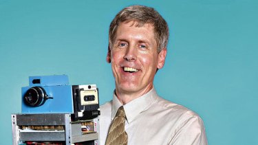 Invention... Steven Sasson in 2005 with the digital camera he built for Kodak in 1975.