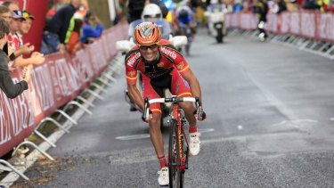 Failed bid for victory: Joaquim Rodriguez of spain makes a break on the final lap.