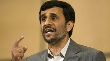 Mahmoud Ahmadinejad ... delivers his UN speech.