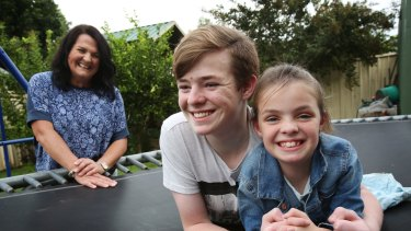 Michelle Philpott with two of her children Connor, 15, and Macyn, 7, who suffer from cystic firbrosis.