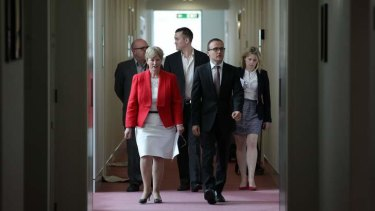 Greens leader Senator Christine Milne and Deputy leader Adam Bandt en route to a debt ceiling press conference. Photo: Alex Ellinghausen