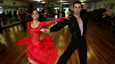Luke Eid and Ashley Sharma practice at the Granada Dance Centre in East Malvern.