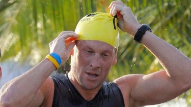 Banned ...Armstrong competes in the Ironman Panama triathlon in February.