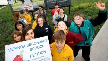 Families will rally for a new secondary school in Mernda in Melbourne's north.