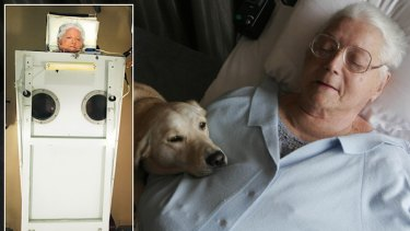 FILE PHOTOS: June Middleton photographed in 2004 in her iron lung and last year with her dog, Angel.