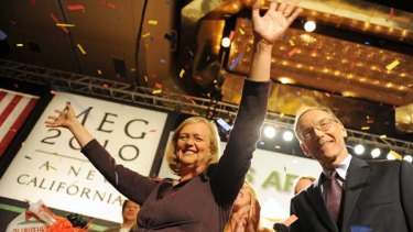 Meg Whitman and her husband Griffith Harsh celebrate becoming the Republican candidate for governor of California.