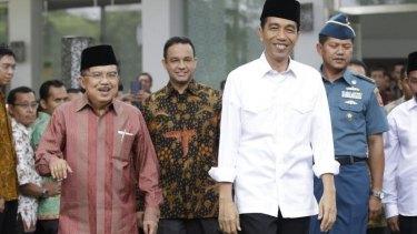Indonesian President Joko Widodo, right, with Vice-President Jusuf Kalla.