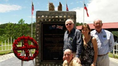 At the memorial...clockwise from top, Dr Rob Oakeshott, Harriet Bradwell, Robert Seccombe and John Oakeshott.