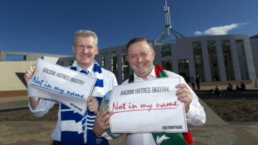 """Labor frontbenchers Tony Burke and Anthony Albanese back the """"Not in my Name"""" campaign."""