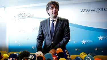 Carles Puigdemont at the Press Club in Brussels, Belgium last month.