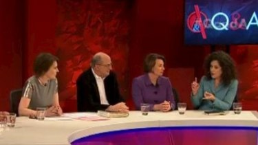 Annabel Crabb addressing fellow panelists Anna Bligh and Peter Reith, alongside host Virginia Trioli.