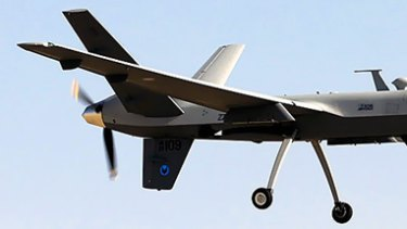 A Royal Air Force Reaper unmanned aerial vehicle at Kandahar airfield.
